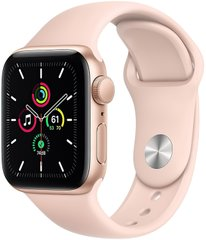 Apple Watch SE GPS 40mm Gold Aluminum Case with Pink Sport Band (MYDN2)