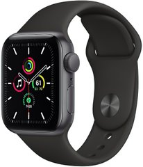 Apple Watch SE GPS 40mm Space Gray Aluminium Case with Black Sport Band (MYDP2)